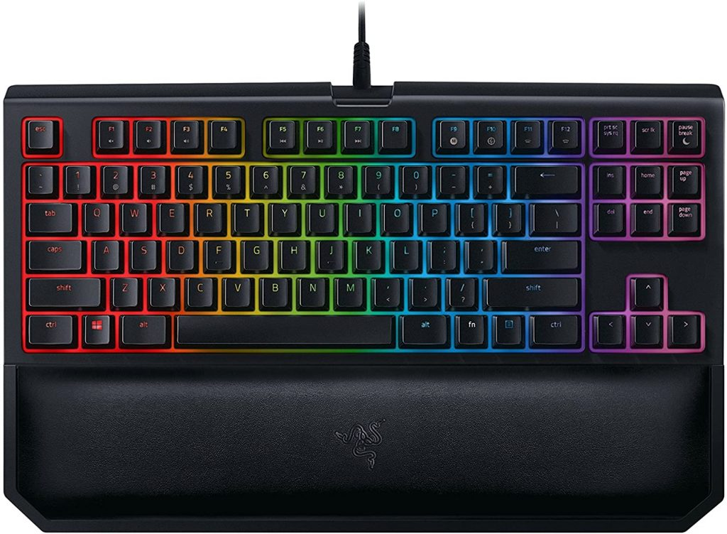 Blue Switches Black Ergonomics Design with Magnetic Wrist Rest Customizable Chroma RGB Lighting Mechanical Gaming Keyboard Programmable Macro Functionality